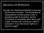 questions for reflection31