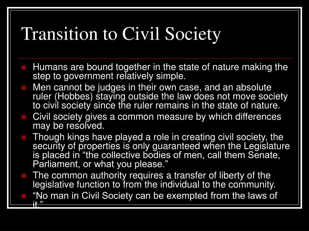 Transition to Civil Society
