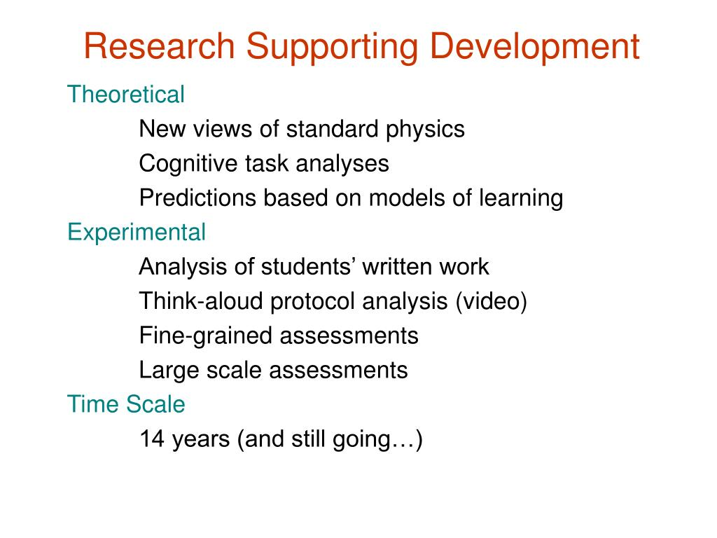 Research Supporting Development
