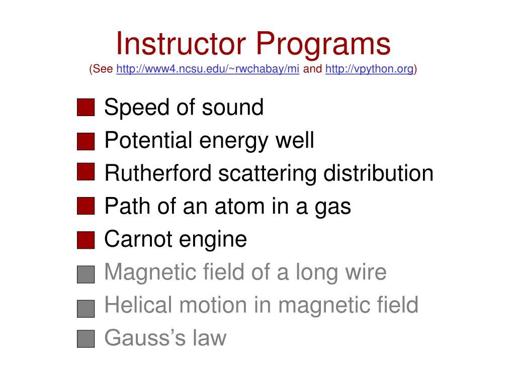 Instructor Programs