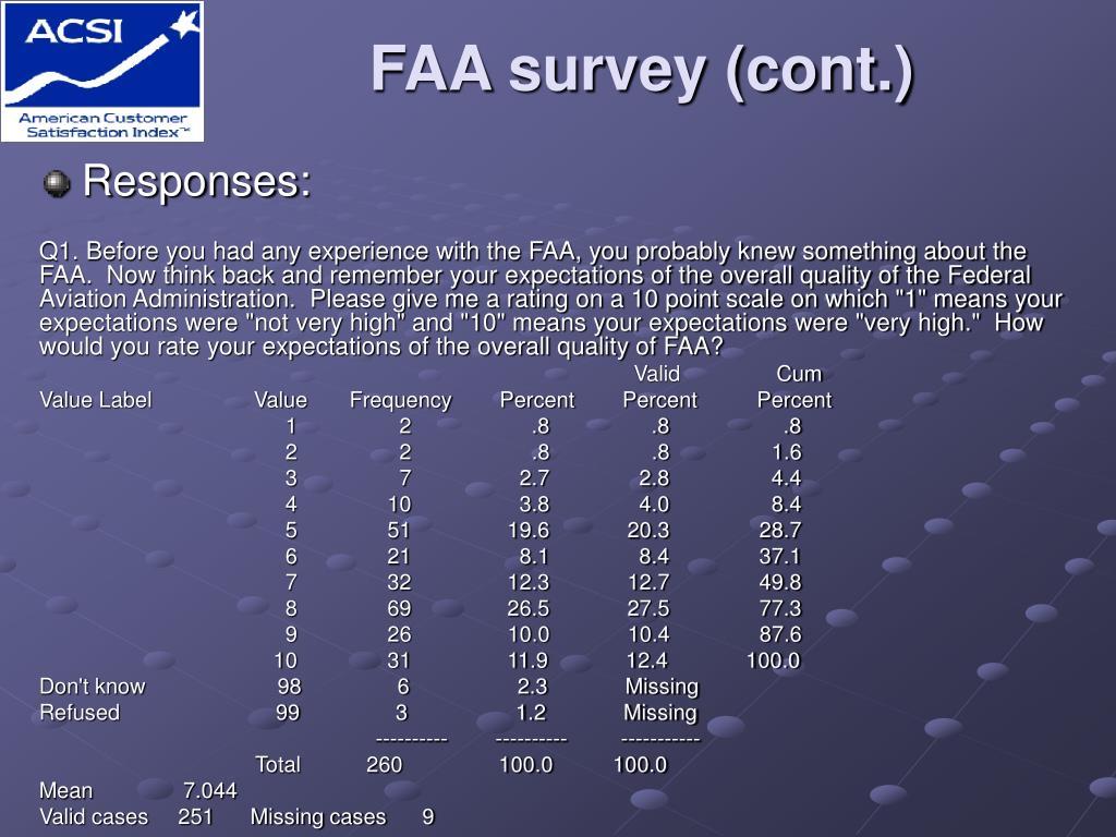 FAA survey (cont.)