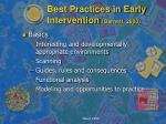 best practices in early intervention barnett 2000