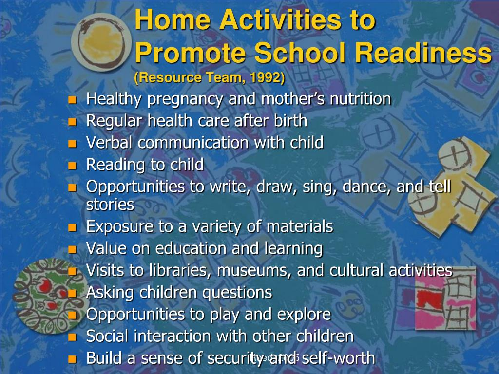 Home Activities to Promote School Readiness