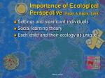 importance of ecological perspective paget nagle 1986