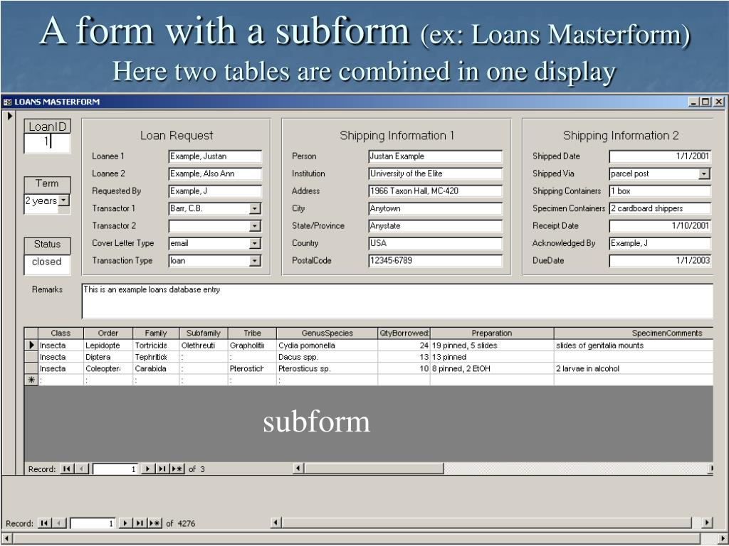 A form with a subform