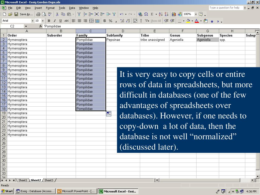 "It is very easy to copy cells or entire rows of data in spreadsheets, but more difficult in databases (one of the few advantages of spreadsheets over databases). However, if one needs to copy-down  a lot of data, then the database is not well ""normalized"" (discussed later)."