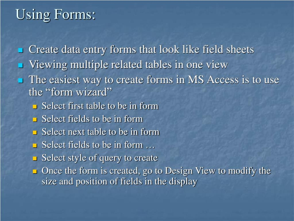 Using Forms: