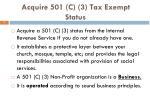 acquire 501 c 3 tax exempt status