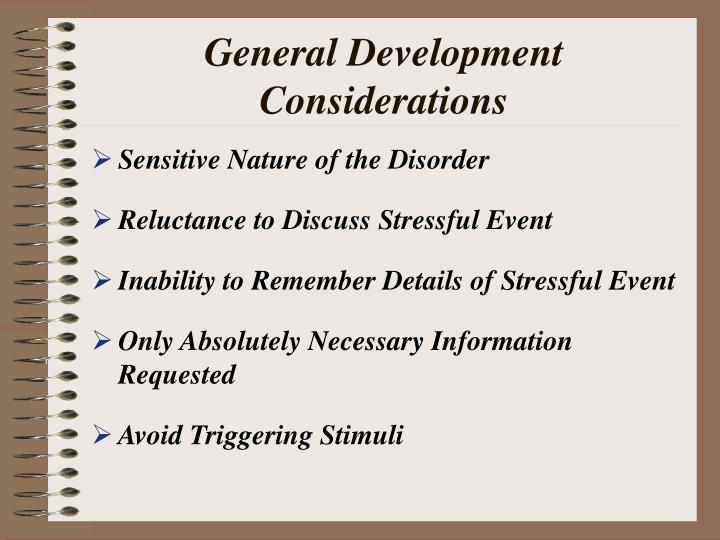General development considerations