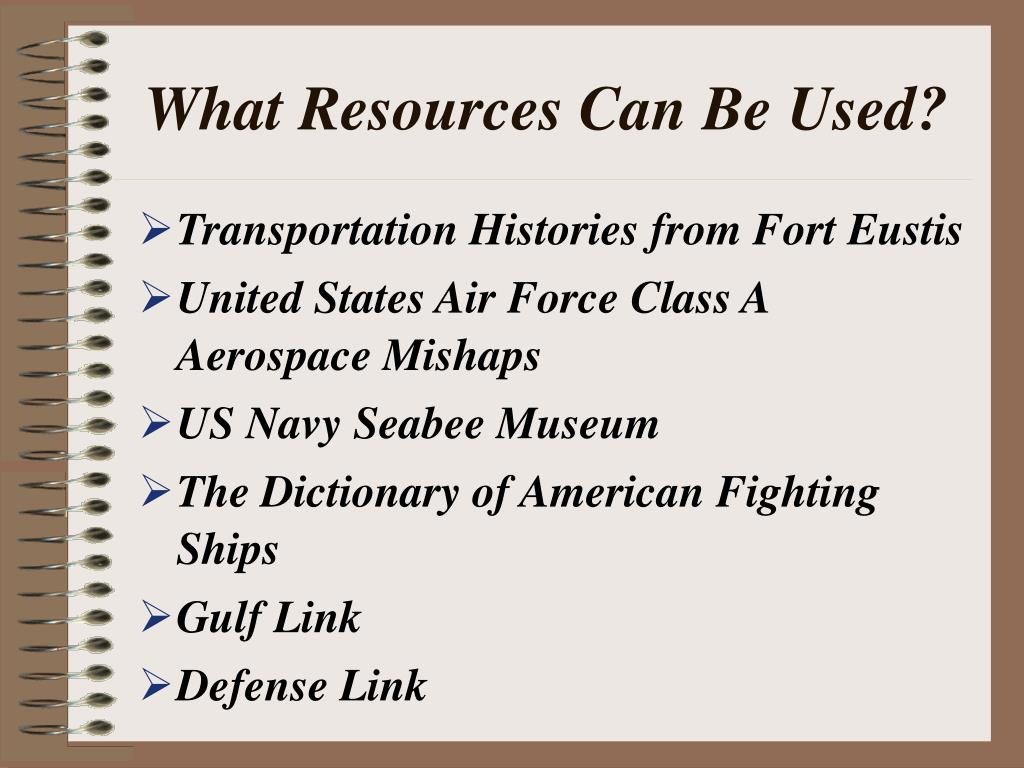What Resources Can Be Used?