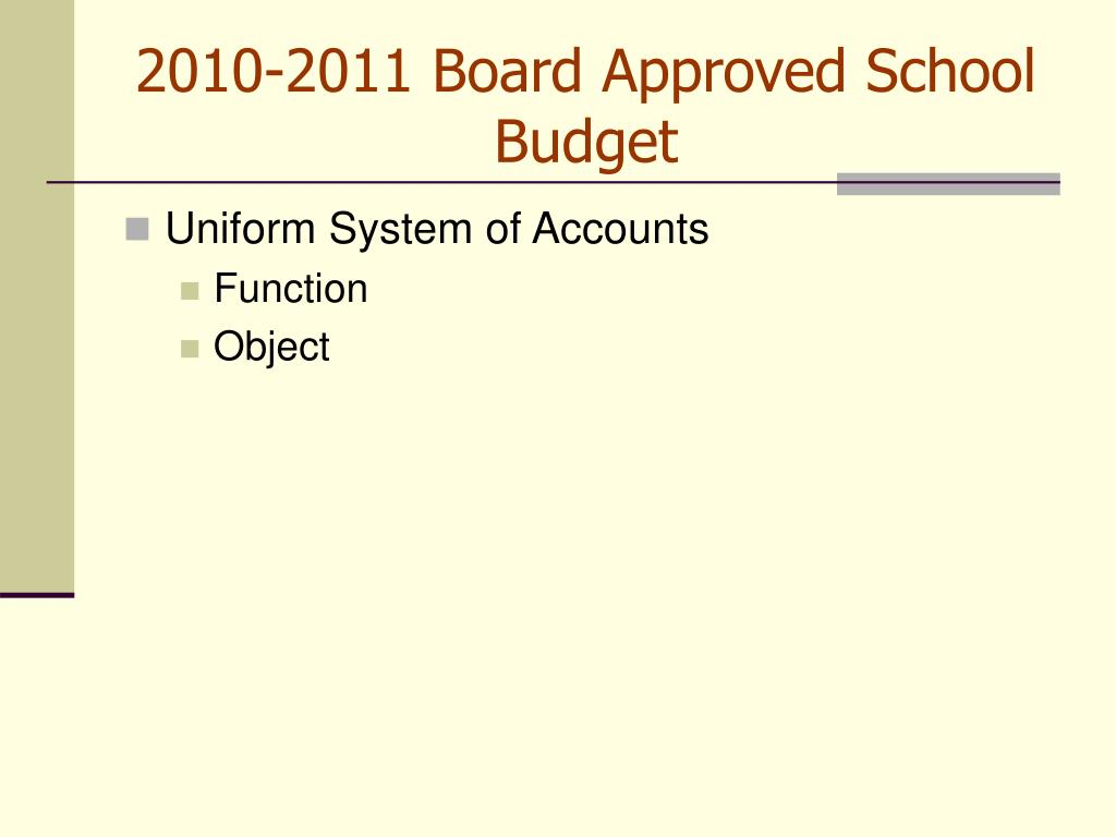 2010-2011 Board Approved School Budget
