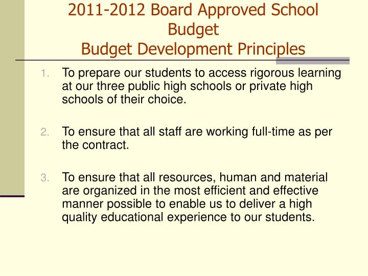 2011 2012 board approved school budget budget development principles