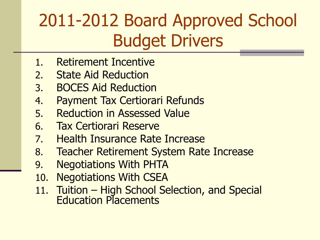 2011-2012 Board Approved School Budget Drivers