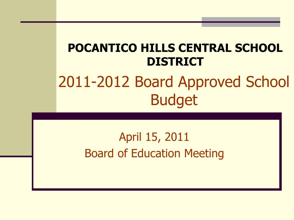 2011-2012 Board Approved School Budget
