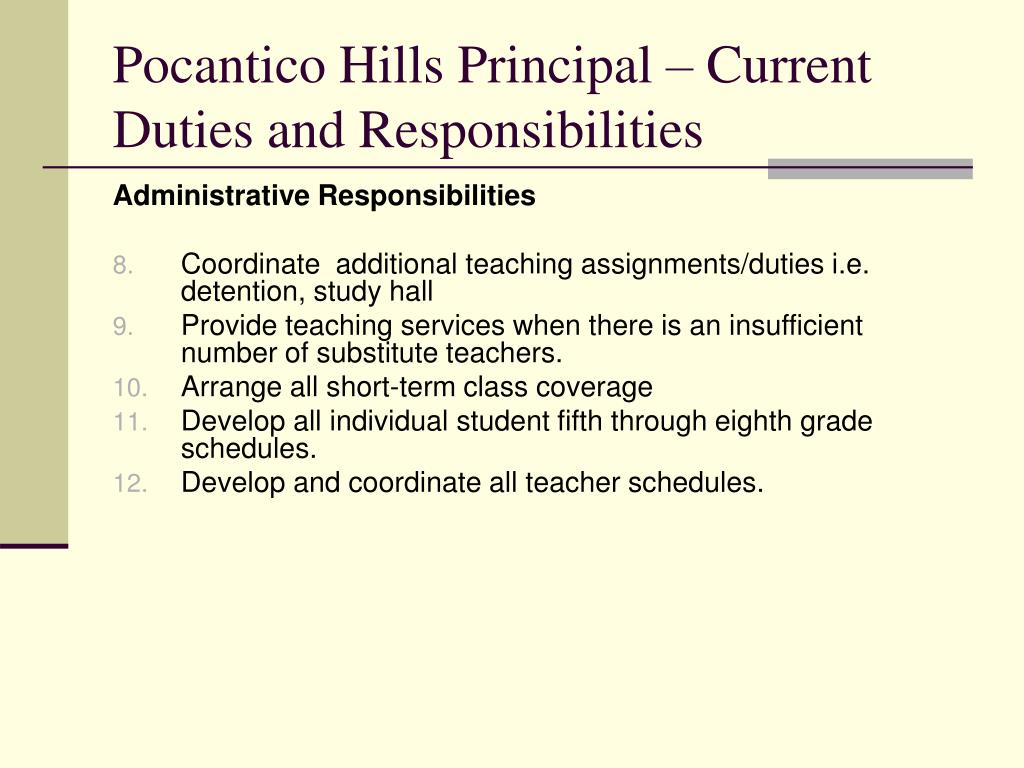 Pocantico Hills Principal – Current Duties and Responsibilities