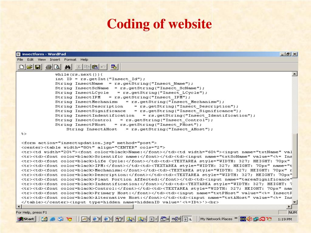 Coding of website