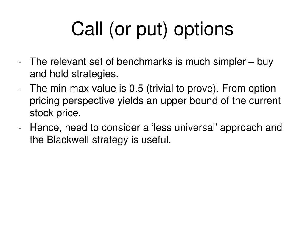 Call (or put) options