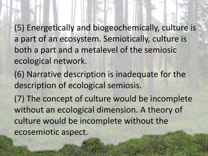 (5) Energetically and biogeochemically, culture is a part of an ecosystem. Semiotically, culture is both a part and a metalevel of the semiosic ecological network.