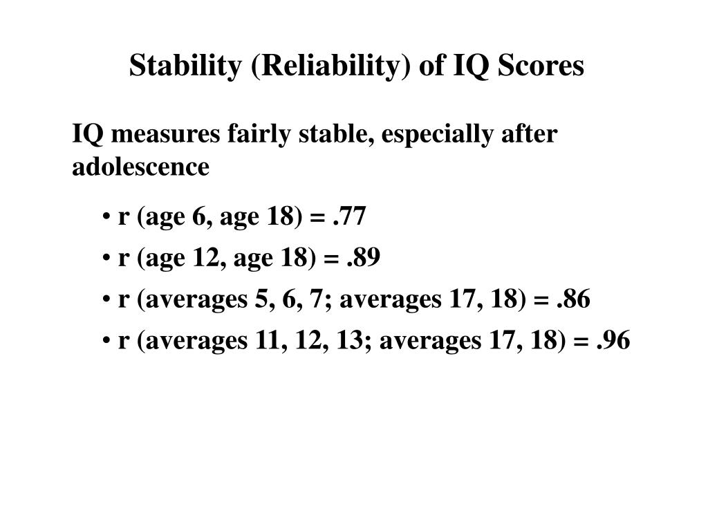 Stability (Reliability) of IQ Scores