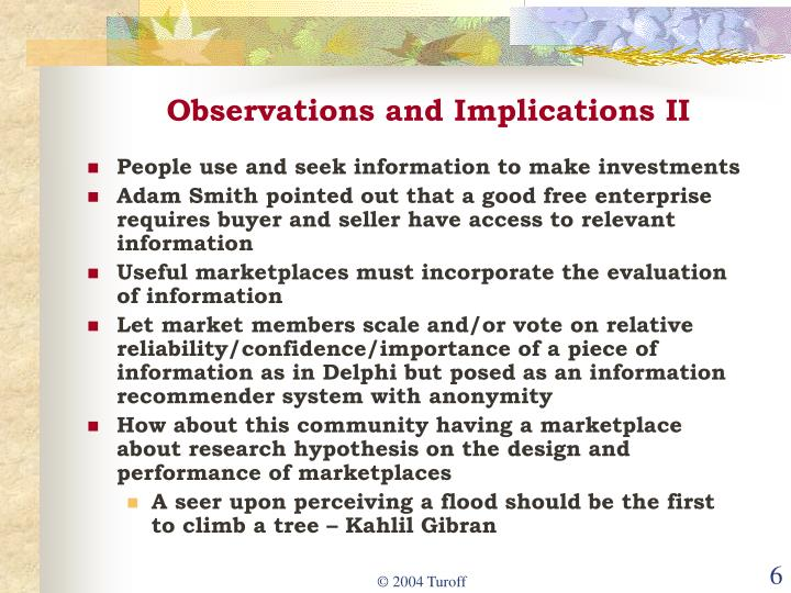 Observations and Implications II