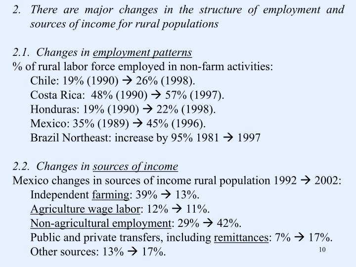 There are major changes in the structure of employment and sources of income for rural populations
