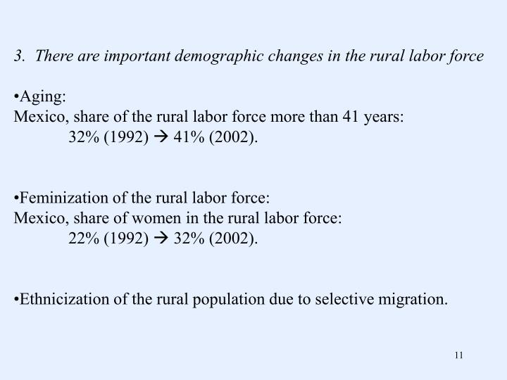 3.  There are important demographic changes in the rural labor force