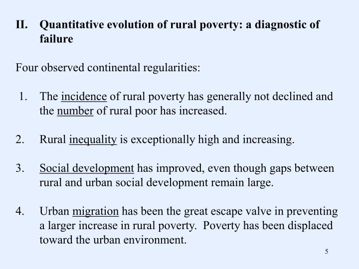II.Quantitative evolution of rural poverty: a diagnostic of failure
