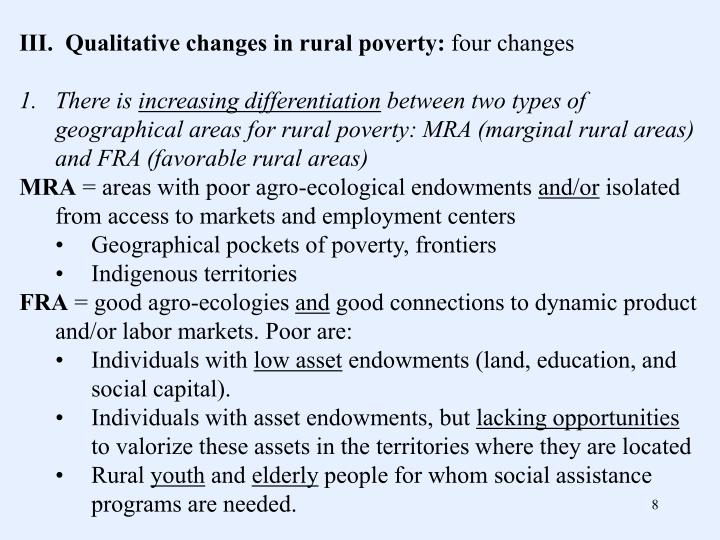 III.  Qualitative changes in rural poverty: