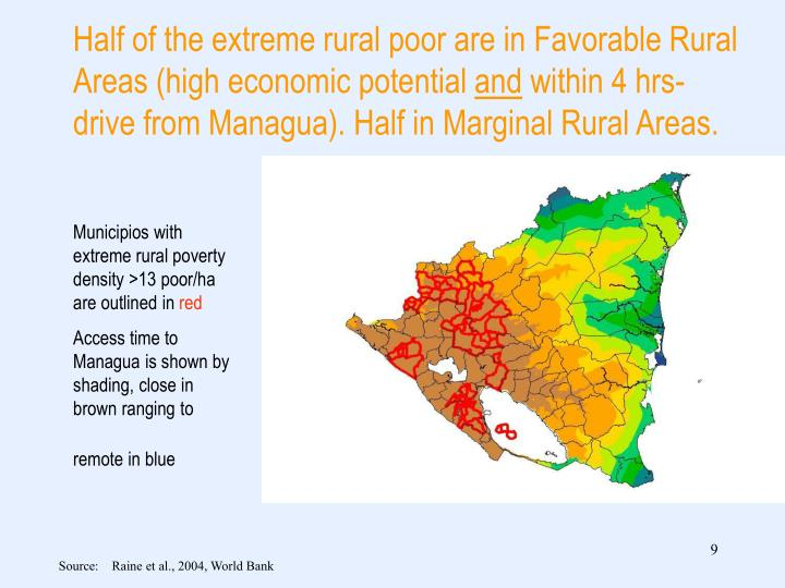 Half of the extreme rural poor are in Favorable Rural Areas (high economic potential