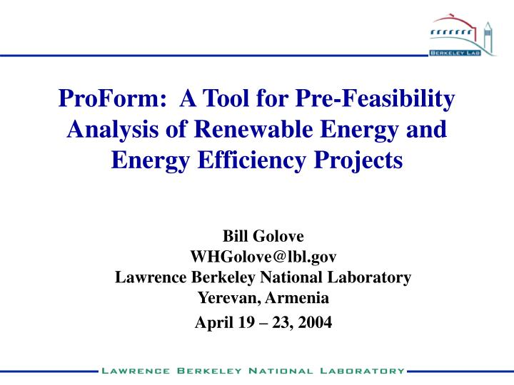 Proform a tool for pre feasibility analysis of renewable energy and energy efficiency projects