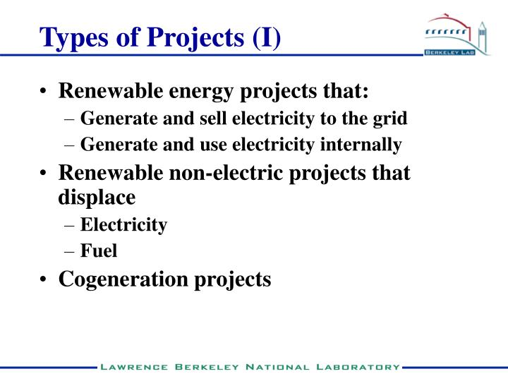 Types of Projects (I)