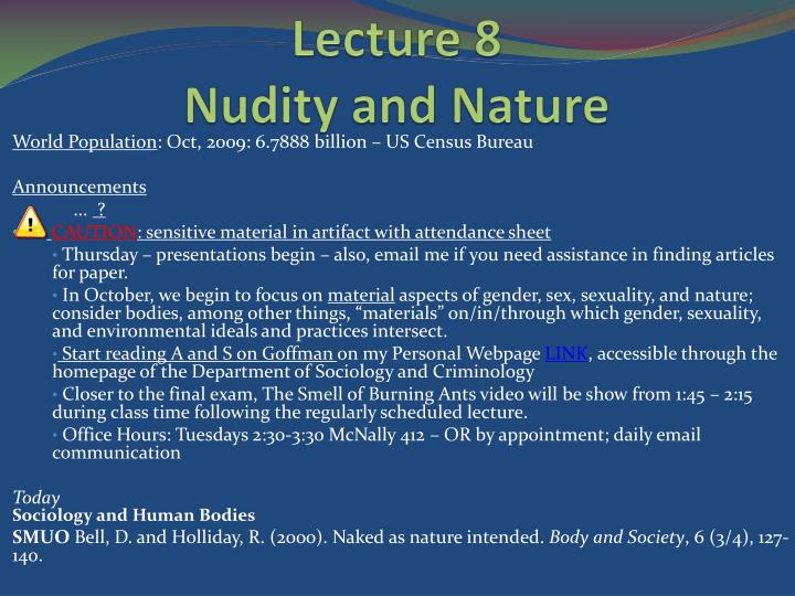 Lecture 8 nudity and nature