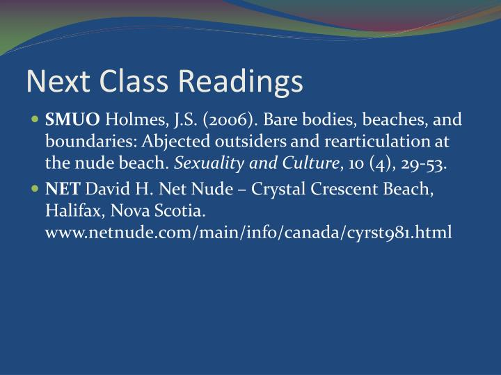 Next Class Readings