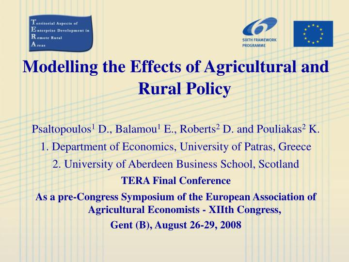 Modelling the effects of agricultural and rural policy