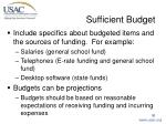sufficient budget30