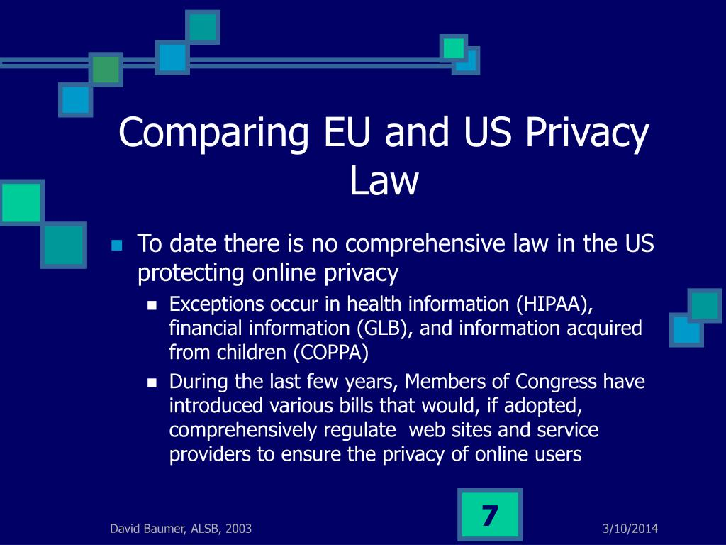 Comparing EU and US Privacy Law