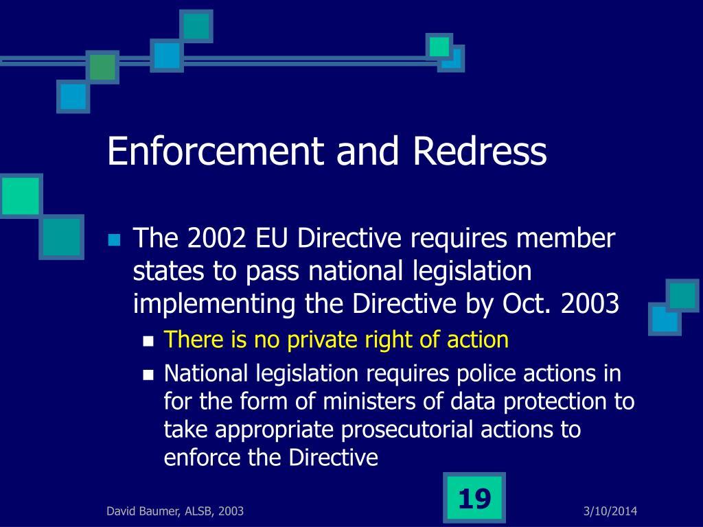 Enforcement and Redress