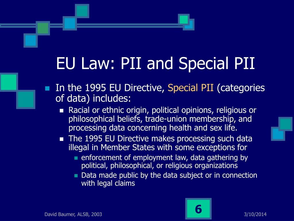 EU Law: PII and Special PII