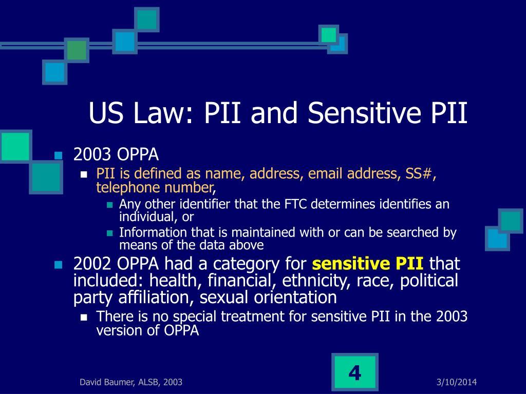 US Law: PII and Sensitive PII