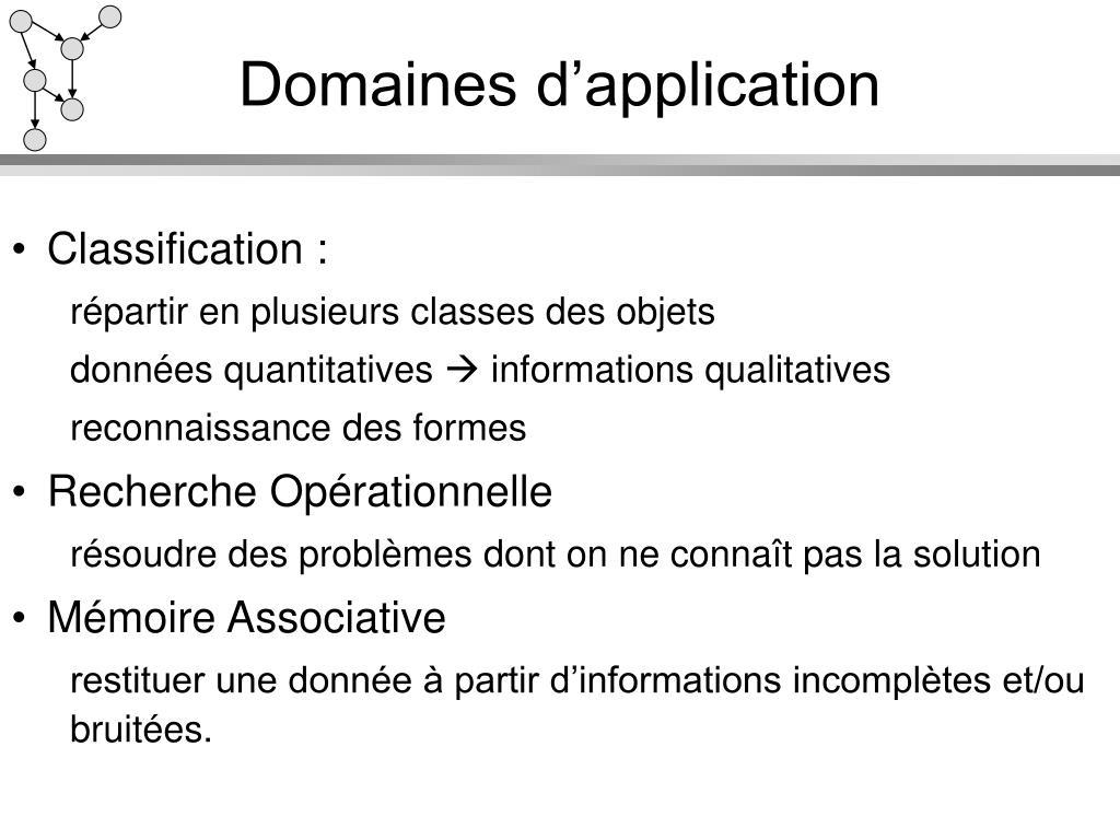 Domaines d'application