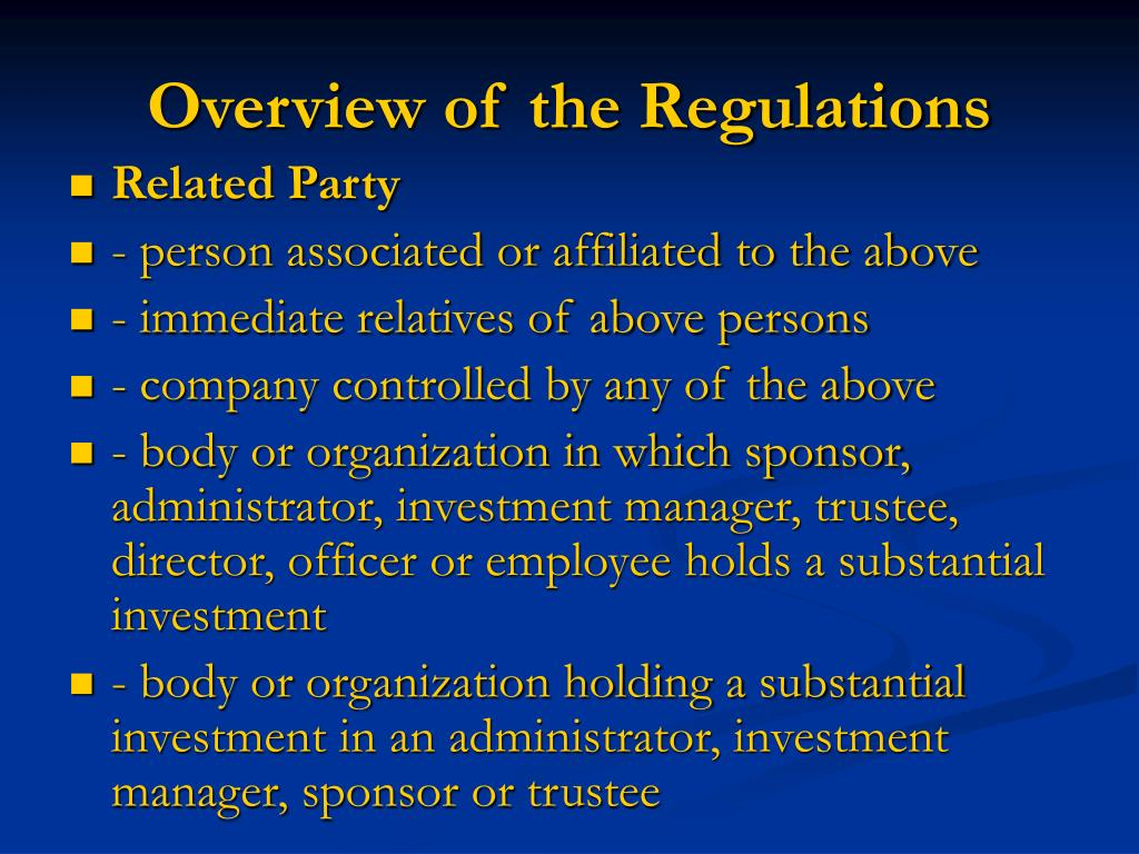 Overview of the Regulations