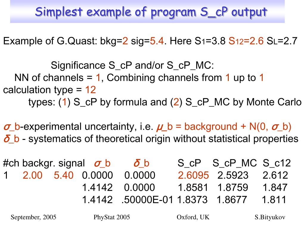 Simplest example of program S_cP output