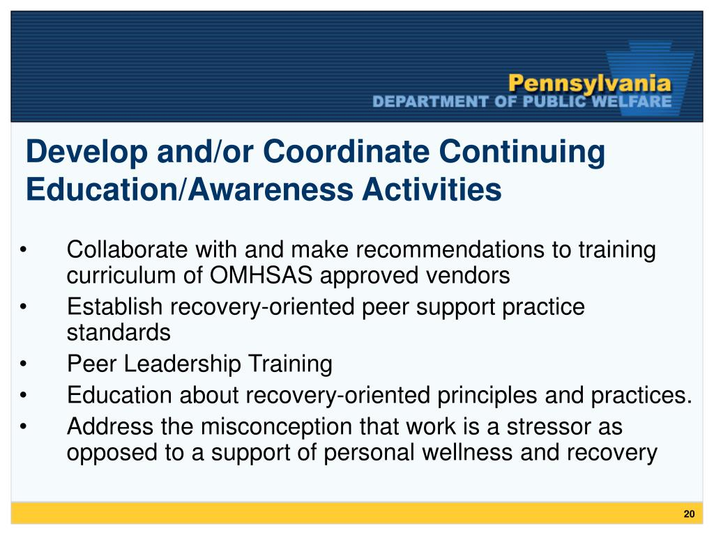 Develop and/or Coordinate Continuing Education/Awareness Activities