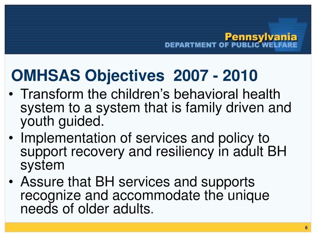 OMHSAS Objectives  2007 - 2010