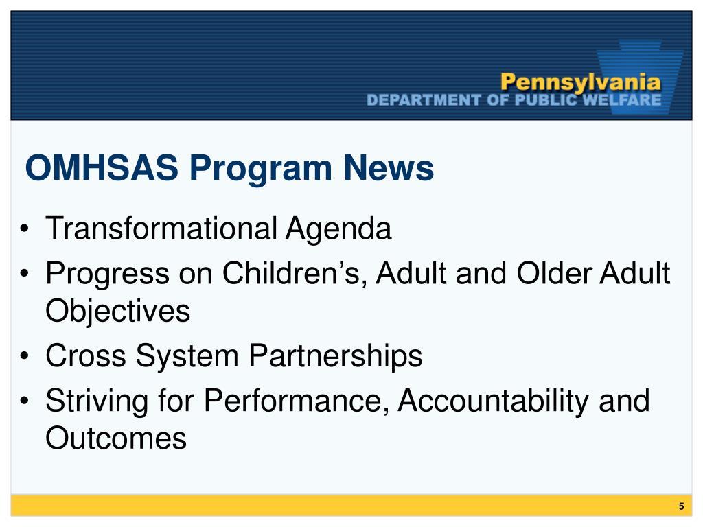 OMHSAS Program News