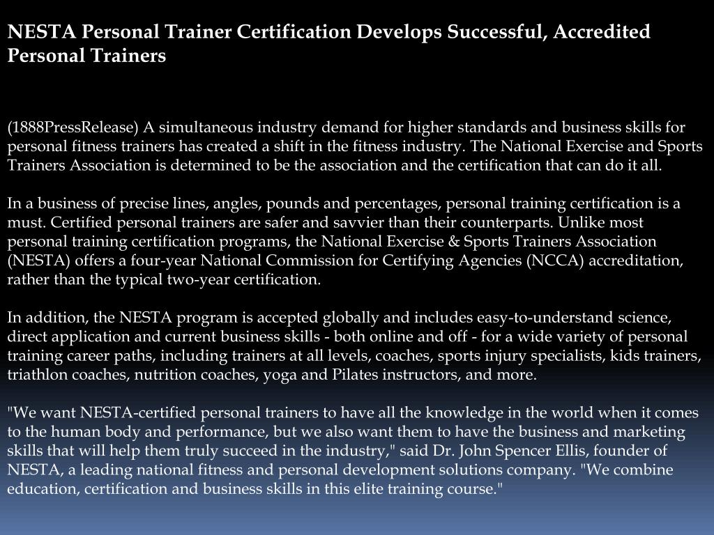 NESTA Personal Trainer Certification Develops Successful, Accredited Personal Trainers