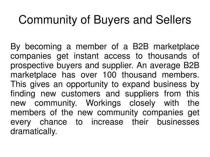 Community of buyers and sellers