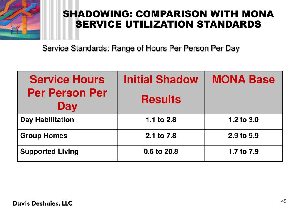 SHADOWING: COMPARISON WITH MONA SERVICE UTILIZATION STANDARDS