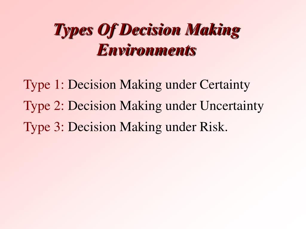 Types Of Decision Making Environments