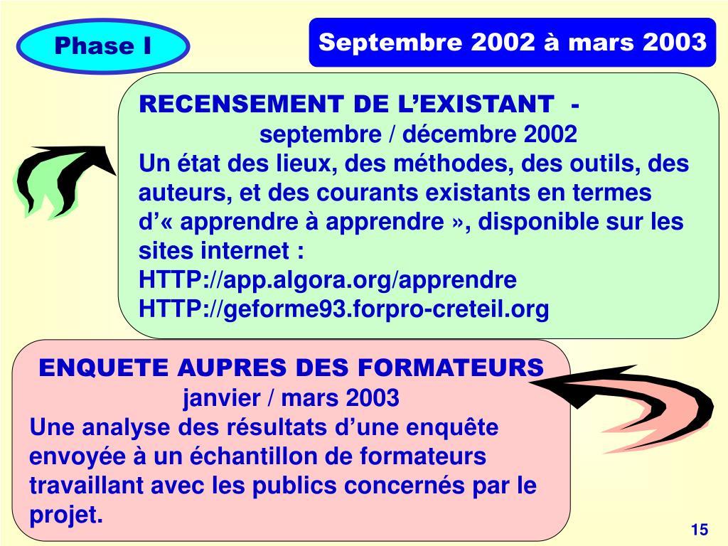 Septembre 2002 à mars 2003